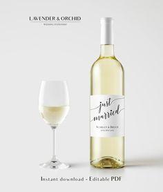 Wine bottle label template Wine Label by LavenderAndOrchid on Etsy