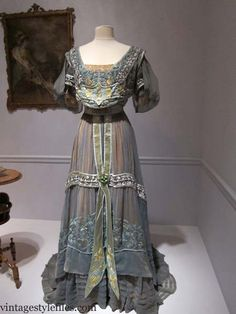 Evening dress by Callot Soeurs, Paris, 1907. Silk and cotton moire, tulle, silk ribbon cord and beading.