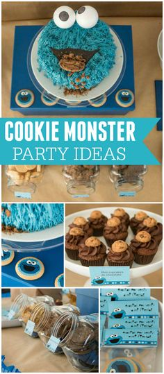 Such a fun Cookie Monster party! With cupcakes and chocolate chip cookies! See more party planning ideas at CatchMyParty.com!