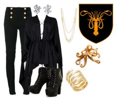"""""""House Greyjoy - We Do Not Sow"""" by hestiarocks ❤ liked on Polyvore featuring Balmain, Tom Ford, Jennifer Zeuner, Gorjana, White Faux Taxidermy and Bling Jewelry"""