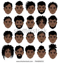 drawing Set of cartoon faces of black men with different hairstyles, beard and mustache. Set of cartoon faces of black men with different hairstyles, beard and mustache. Cartoon Hair, Cartoon Faces, Black Cabelo, Afro Hair Drawing, Black Cartoon Characters, Black Men Hairstyles, Men's Hairstyles, Beautiful Hairstyles, Hair Sketch