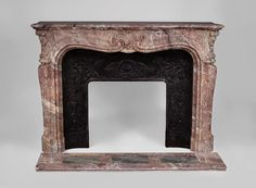 Antique Louis XV style fireplace in Fleur de Pecher marble with large shell (Reference 3471) - Available at Galerie Marc Maison #antique #fireplace #louis15 #style #french #frenchantiques #marcmaison #mantel #marble #paris #saintouen #fleamarket #interior #decoration #decor #design #architecture Marble House, Marble Floor, Saint Ouen, Rococo Style, Small Flowers, Shades Of Purple, Cast Iron, Oversized Mirror, Shell