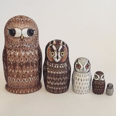 I loved painting this little owl set (commissioned)... Tawny Canadian long eared White faced scops Little and Owlet  . . . #owl #owls #owlsofinstagram #tawnyowl #longearedowl #scopsowl #littleowl #owlet #babyowl #woodenowls #woodendolls #matryoshka #nestingdolls #russiandolls #painting #etsy #etsyuk #etsylove