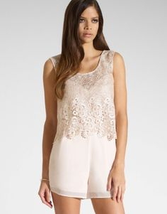 Kardashian Kollection For Lipsy playsuit featuring lace top detail, low V back and concealed back zip fastening. S/S14