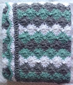 Crochet Baby Blanket Baby Shower Gift $69.99 by HookYarnAndHooper on Etsy Crocheted baby blanket in green and gray argyle stripes for a baby boy or girl. This gender neutral crib blanket makes a great gift for any newborn. Handmade in a smoke-free home and measures 31 by 27 inches. #craftshout0415