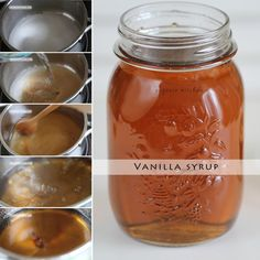 Easy vanilla syrup recipe to use to make starbucks drinks at home Vanilla Syrup For Coffee, Sugar Free Vanilla Syrup, Caramel Coffee Syrup, Homemade Syrup, Homemade Vanilla, Coffee Tasting, Coffee Drinks, Coffee Shops, Kitchens