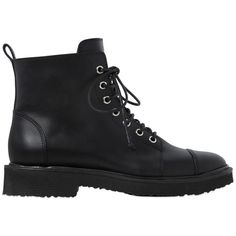 Giuseppe Zanotti Design Women 20mm Leather Ankle Combat Boots ($1,005) ❤ liked on Polyvore featuring shoes, boots, ankle booties, botas, zapatos, shoes - boots, black, black leather booties, leather boots and black booties