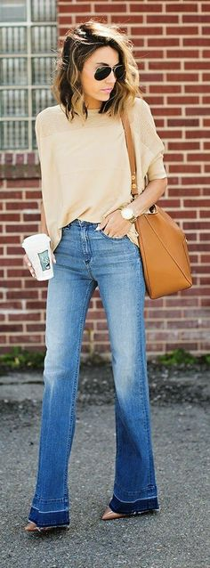 Hello Fashion - Spring Top Sweater with Wide Leg Denim and Nude Patent Pumps