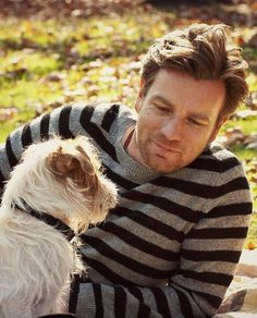 Ewan McGregor. In a striped sweater. With a puppy.