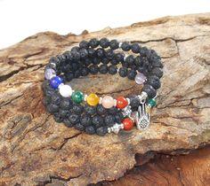 Piedra de lava Negro//Azul Pulsera de abalorios//Rock piedras preciosas mediación Yoga Energía Regalo UK