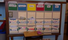 I liked this organizational board in a primary special ed classroom. At the top are a series of color coded folders (green & blue are differentiated groups) that contain new worksheets. Below, each child has his/her own folder, with a label written and decorated by the student, which contain their completed papers for the teacher to read. Teacher also returned papers to students in these folders.