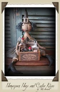 Primitive Witch Doll ~ Halloween ♥ Homespun Hugs and Calico Kisses