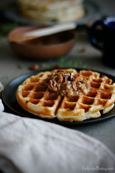 Overnight Yeasted Waffles with Banana-Rum Topping I foolproofliving.com