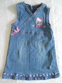 Hello Kitty Denim Dress Jean Sleeveless Pink Bow Embroidered Size 5 EUC $19.97