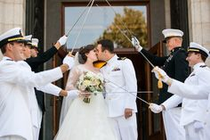 Newlyweds with Sword Arch at Naval Academy Recessional