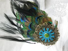 Large Peacock Feather Steampunk Hair Fascinator with Turquoise Gear