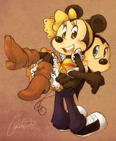 Stick Me to You | by cici-chi @ DeviantART.com // #disney; mickey and minnie mouse