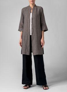 Linen Mandarin Collar Simple Long Blouse http://www.vividlinen.com/missy/product/t3372_635_linen-mandarin-collar-simple-long-blouse