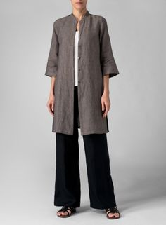 Linen Mandarin Collar  could be 'Take Me Anywhere'...a great choice for the tunic (made longer) and the straight leg style in the  'One Seam Pants' pattern from Cutting Line Designs. Nice look!