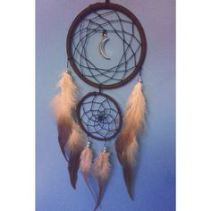 Brown faux suede trim double dream catcher, black web and silver moon charm finish 10cm
