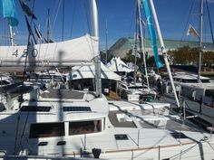 Lagoon 450 and Gemini Legacy, The Catamaran Company booth at Annapolis boat show 2014