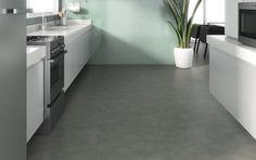 piso vinilico com textura de cimento queimado para revestimento do piso da cozinha