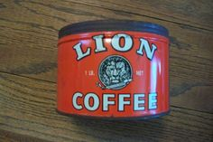 Vintage Lion Coffee Tin Can Coffee Tin, Vintage Coffee, Lion Coffee, Coffee Packaging, Tins, Jar, Canning, Antiques, Tin Cans