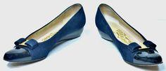 Salvatore Ferragamo Vara Navy Suede/Black Patent captoe Wedge Pump Shoes 6½ 4A  #SalvatoreFerragamo #PumpsClassics