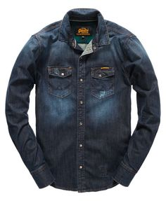 midnight used/green Superdry Forrester Shirt Casual Shirts For Men, Men Casual, Dress Code Casual, Denim Shirt Men, Denim Ideas, Moto Style, Long Shorts, Dress Codes, Superdry