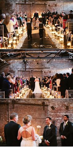 Love the lighting here: floating candles at varying heights to mark the aisle; candle altar.  Photo by Melissa Schollaert Photography
