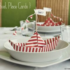 Paper Boats as Place Setting Cards-cute cute cute