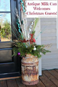 Antique Milk Can with Christmas Decorations - designsofhome.com - Instructions on the blog!