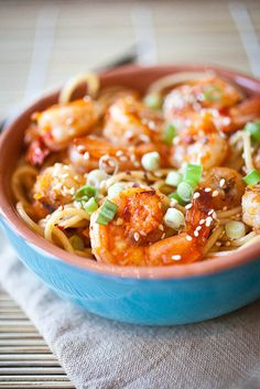 Chilled Spicy Sesame Noodles with Shrimp. Use gf noodles Fried Shrimp, Spicy Shrimp, Sesame Shrimp, Shrimp Noodles, Cold Noodles, Thai Noodles, Spicy Thai, Rice Noodles, Asian Recipes