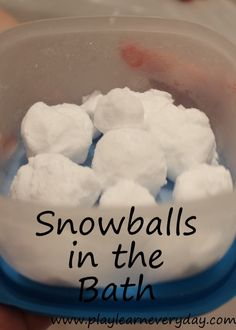 A fun way to bring the winter fun into the bath with snowballs made with one simple ingredient that you've got in your kitchen cupboards!