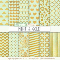 "Mint gold digital paper: ""MINT & GOLD"" gold mint backgrounds w/ chevron, polkadots, honeycomb, stripes, damask, floral, quatrefoil #digitalpaper #bestofetsy"