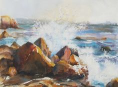 17 Best images about Art: watercolor ships, water, shells . Watercolor Wave, Watercolor Landscape, Landscape Paintings, Watercolor Paintings, Original Paintings, Painting Art, Landscapes, Watercolors, Boat Art