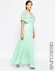 ASOS CURVE Embellished Flutter Sleeve Maxi Dress