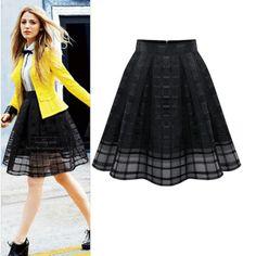 Western Plaid Organza High Waisted Midi Black Skirt