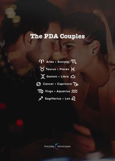 These couples tend to show their affection too much. Scorpio Zodiac Facts, Zodiac Funny, Aquarius Horoscope, Zodiac Signs Astrology, Zodiac Signs Horoscope, Sagittarius, Zodiac Signs Chart, Zodiac Sign Traits, Zodiac Star Signs