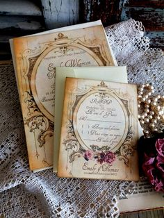 Romantic Vintage Wedding Invitation Suite