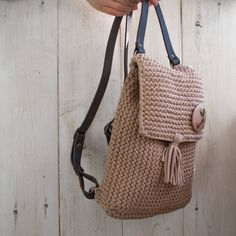 Ready Beige knitted backpack with leather handles
