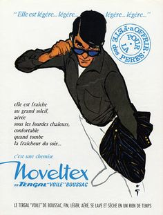 Noveltex (Men's Clothing) 1962 René Gruau Vintage advert Men's fashion illustrated by René Gruau | Hprints.com