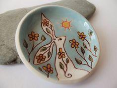 Ceramic Pottery Spring Hare Dish Ostara Hare by RowanSongCrafts
