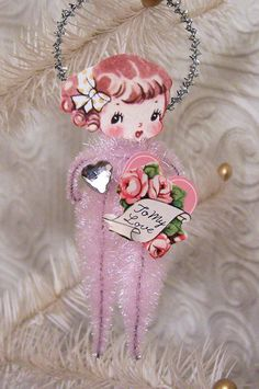 Retro Girl Vintage Style Chenille Valentine Feather by TreePets