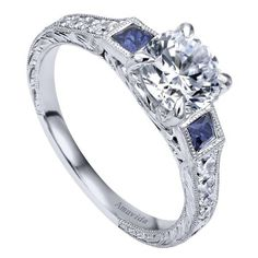 Obsessed with this 18K White Gold 3-Stone Diamond & Sapphire Engagement Ring @ Wedding Day Diamonds