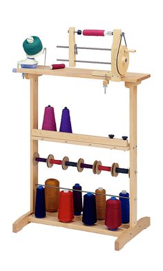 THE SCHACHT WINDING STATION One stand holds it all. The sturdy winding station is designed to accommodate all your winding tools: ball winders, swifts, and bobbin winders. Weaving Tools, Weaving Projects, Loom Weaving, Hand Weaving, Weaving Designs, Tablet Weaving, Spinning Yarn, Hand Spinning, Spinning Wheels