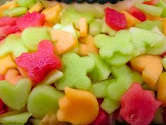 Great way to welcome SPRING! cookie cutters work great and even if mixing in just a few with cubed or balled melon make a huge impact!