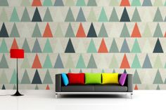 Red Triangles Wallpaper Mural, custom made to suit your wall size by the UK's for murals. Custom design service and express delivery available. Decorating Your Home, Interior Decorating, Triangle Wall, Pergola Pictures, Accent Wall Bedroom, Accent Walls, Pergola Attached To House, Wallpaper Decor, Nursery Wallpaper
