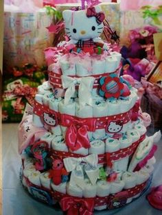 Finished Hello Kitty Diaper Cake. | Baby Shower Gift Ideas | Pinterest |  Cakes, Diaper Cakes And Diapers