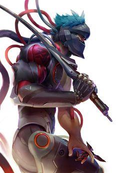 genji- overwatch,so cool art Overwatch Comic, Overwatch Genji, Overwatch Fan Art, Character Concept, Character Art, Character Design, Concept Art, Samurai, Genji Wallpaper